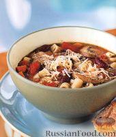 Фото к рецепту: Фасолевый суп с макаронами и грибами