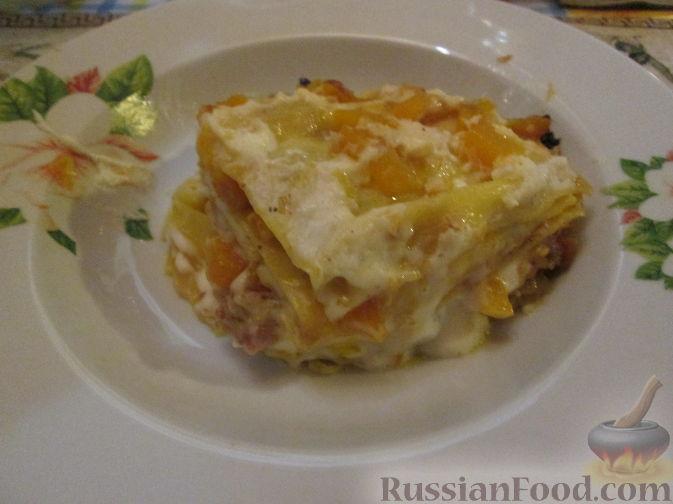 Рецепт Лазанья с тыквой, пореем и колбасками