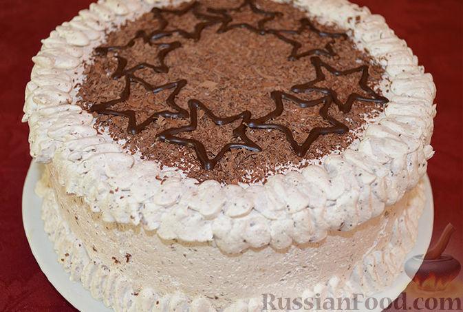 Рецепт Бисквитный торт со сливочным кремом и бананами