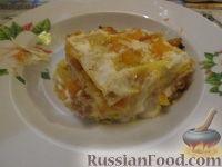 Фото к рецепту: Лазанья с тыквой, пореем и колбасками