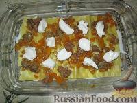 Фото приготовления рецепта: Лазанья с тыквой, пореем и колбасками - шаг №7