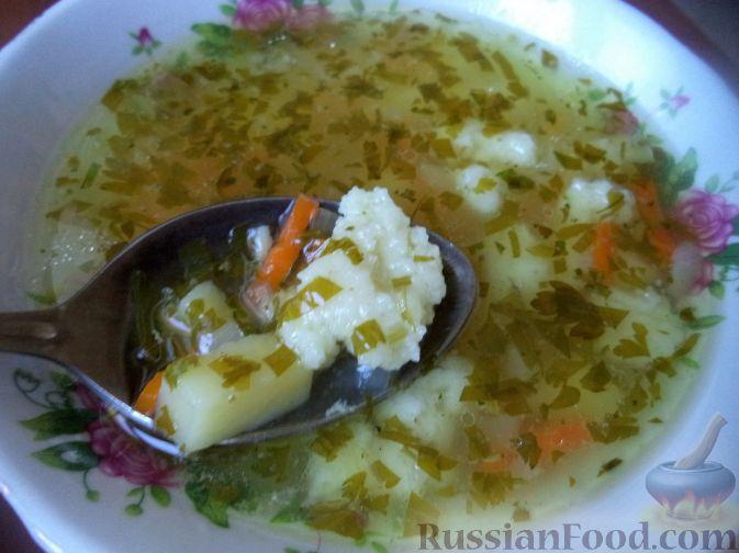 Рецепт Куриный суп с манными галушками