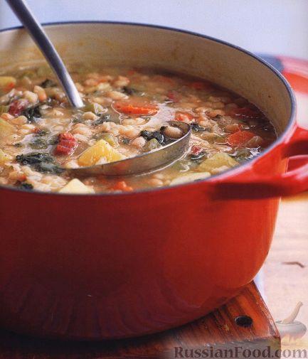 Рецепт Фасолевый суп с ветчиной и листовой капустой
