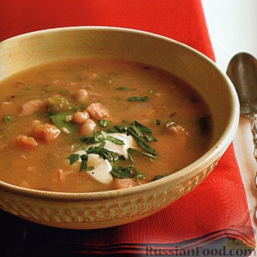 Рецепт Куриный суп с фасолью