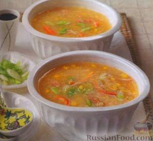 Рецепт Суп с крабовым мясом и кукурузой