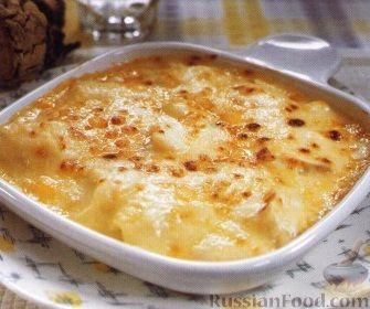 Рецепт Пикша, запеченная в сырном соусе