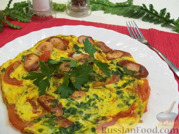 Рецепт Яичница с сосисками и помидорами