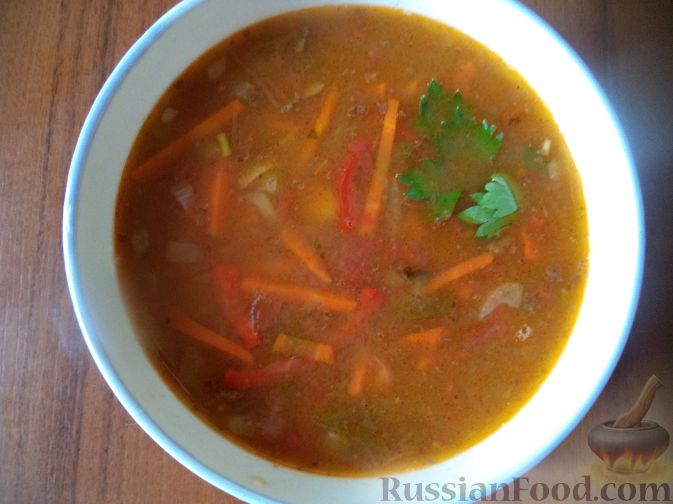 Рецепт Суп из зеленой чечевицы с помидорами