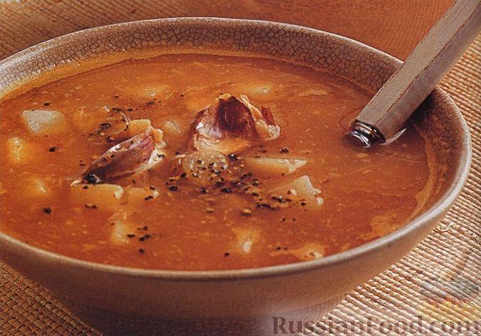 Рецепт Картофельный суп с печеным чесноком