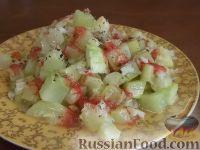 Фото к рецепту: Закуска острая из кабачков с чесноком