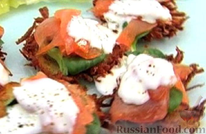 Рецепт Картофельные оладьи с лососем