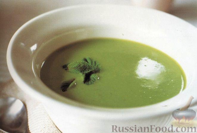 Рецепт Суп-пюре из зеленого горошка с чесноком