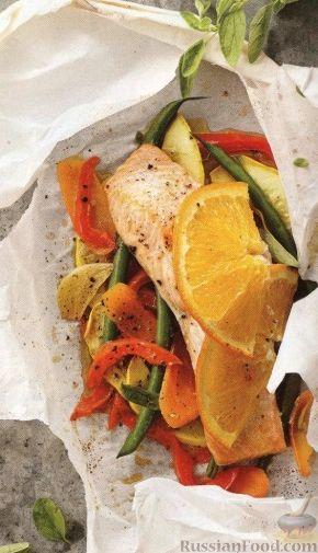 Рецепт Рыба, запеченная с овощами в пергаменте