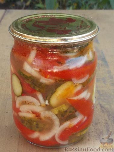 рецепт консервированный салат из помидоров и