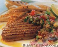 Фото к рецепту: Жареный тунец с сальсой
