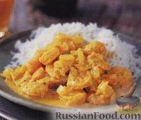 Фото к рецепту: Креветки под соусом карри