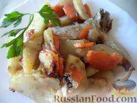 Фото к рецепту: Скумбрия, запеченная с овощами