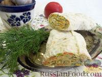 Фото к рецепту: Рулет из лаваша с корейской морковью
