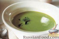Фото к рецепту: Суп-пюре из зеленого горошка с чесноком