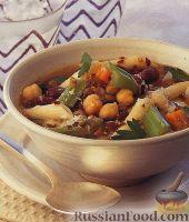 Фото к рецепту: Фасолевый суп с нутом, чечевицей и макаронами