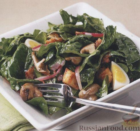 Рецепт Салат из шпината и бекона