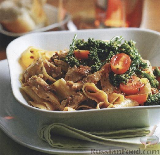 Рецепт Спагетти с курицей в сливочном соусе