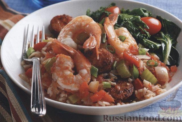 Рецепт Овощное соте с колбасой и креветками