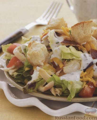 Рецепт Куриный салат с латуком и беконом