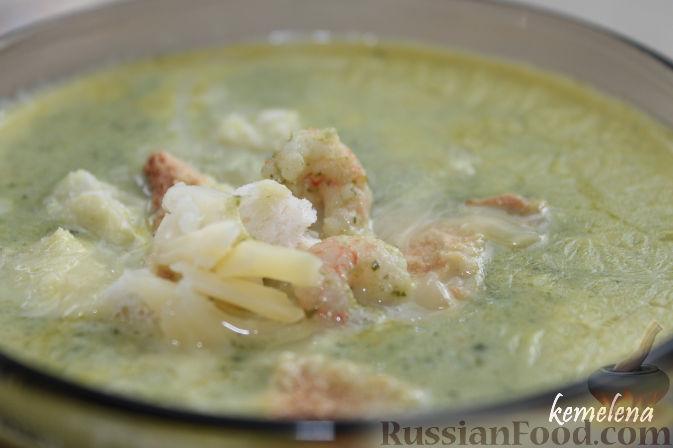 Рецепт Крем-суп из шпината с креветками