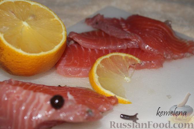 Рецепт Рыба, маринованная с мандаринами и зеленым чаем