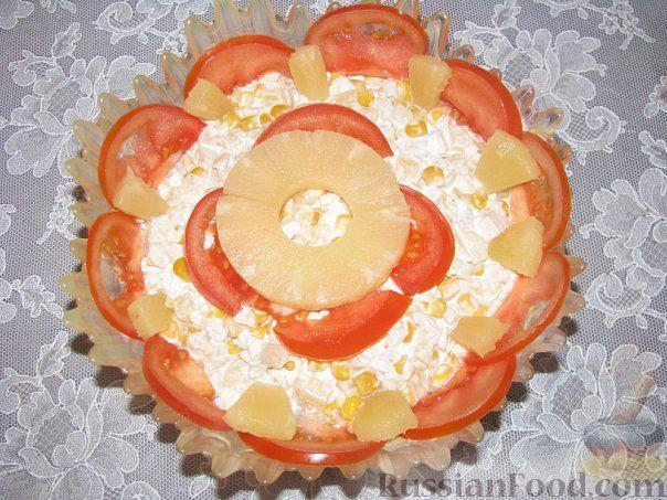 Рецепт пп салата с курицей и ананасами