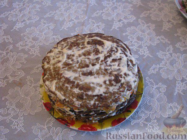 Рецепт Печёночный торт с грибами