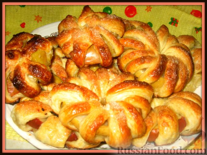 Рецепт Ананасы и яблоки в тесте