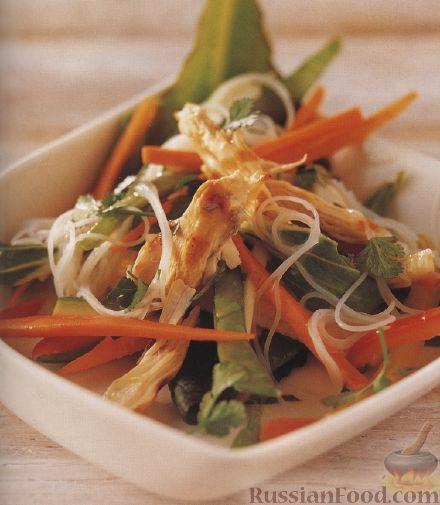 Рецепт Овощной салат с рисовой лапшой