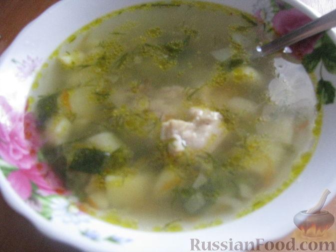 Рецепт Куриный суп с молодым горошком
