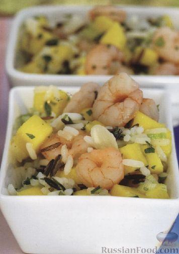 Рецепт Салат из риса, креветок и манго