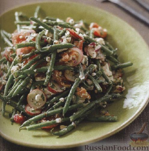 Рецепт Салат из стручковой фасоли, редиса, помидоров и сыра фета