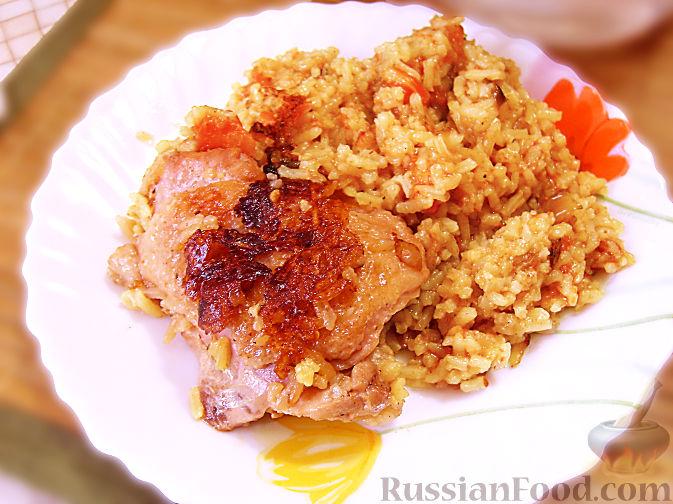 Рецепт Курица тушеная с рисом