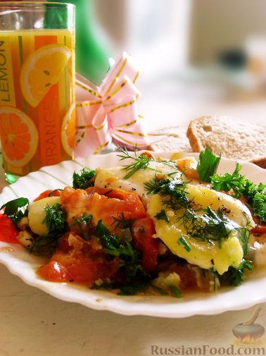 Рецепт Яичница с помидорами и зеленью
