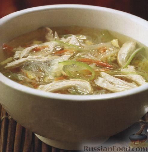Рецепт Овощной суп с рисовой лапшой и куриным филе