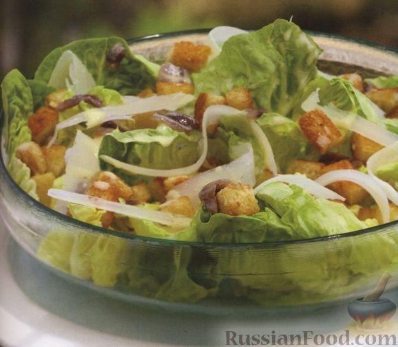 Рецепт Салат цезарь с сухариками и анчоусами