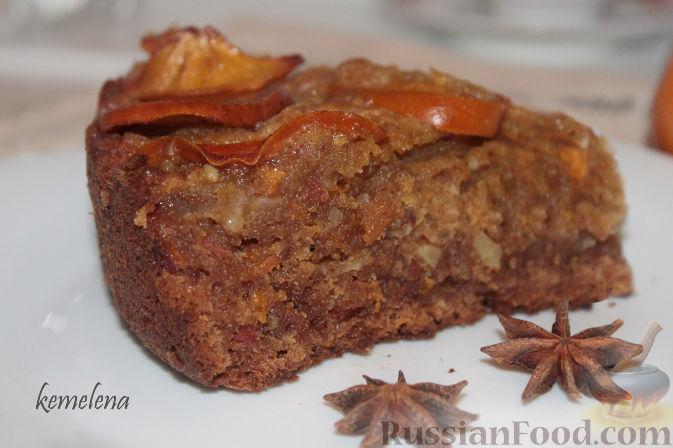 Рецепт Пирог с хурмой, миндалем и коньяком
