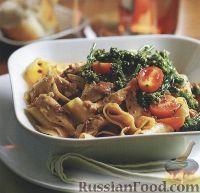 Фото к рецепту: Спагетти с курицей в сливочном соусе