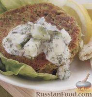 Фото к рецепту: Котлеты из нута с мятным соусом
