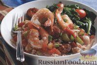 Фото к рецепту: Овощное соте с колбасой и креветками