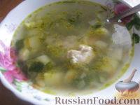 Фото к рецепту: Куриный суп с молодым горошком