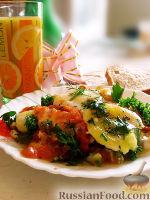 Фото к рецепту: Яичница с помидорами и зеленью