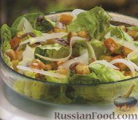 Фото к рецепту: Салат цезарь с сухариками и анчоусами