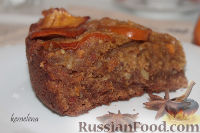 Фото к рецепту: Пирог с хурмой, миндалем и коньяком