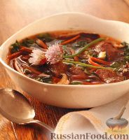 Фото к рецепту: Восточный овощной суп с говядиной